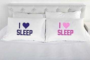 Kissenbezüge I Love Sleep Für Pärchen Bettwäsche Geschenk Für