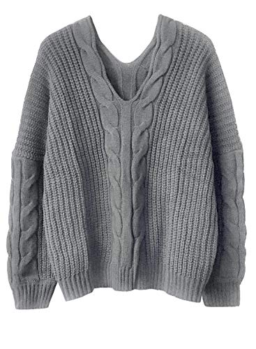 Doballa Women's V Neck Drop Long Sleeve Cable Knitted Boxy Jumper Sweater Top