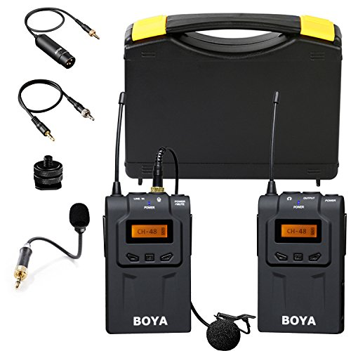 BOYA UHF 48 Channels Wireless Lavalier Microphone System Professional Omni-Directional Video Mic Compatible with Canon EOS T6i Nikon D3300 DSLR Camera Sony A9 Panasonic Camcorders