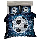 AMOR & AMORE 3D Blue Football Soccer Ball Bedding Sets Boys Bedding Full Size, 3pc Sports Bedding Men Teen Kids Bedding Soccer Comforter Sets (Full)