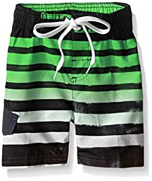 Kanu Surf Little Boys\' Toddler Reflection Stripe Swim Trunks, Black/Green, 4T