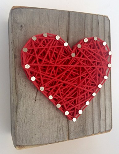 Sweet and small wooden rustic red string art heart block for Father's Day, Wedding, Anniversary, Valentine's Day, Christmas, House Warming, New Baby and just because gift.