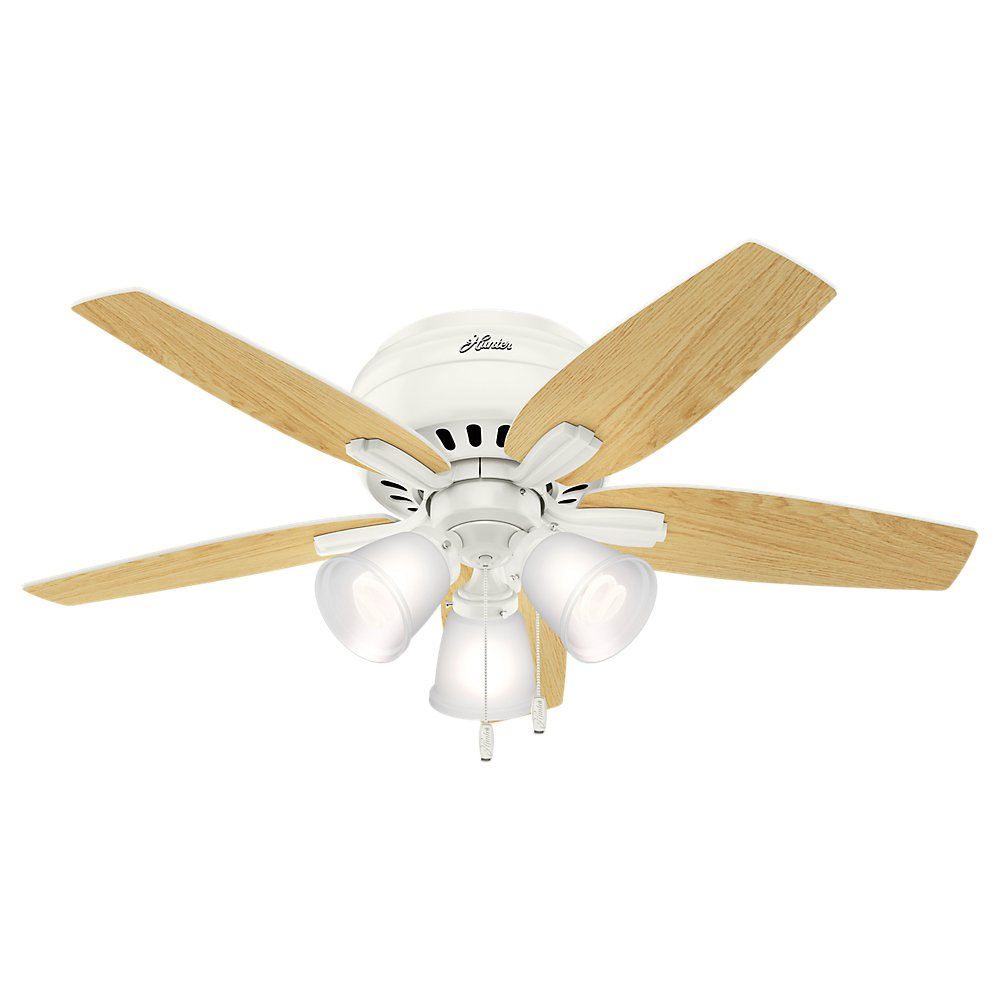 Hunter Indoor Low Profile Ceiling Fan, with pull chain control – Newsome 42 inch, White, 51077