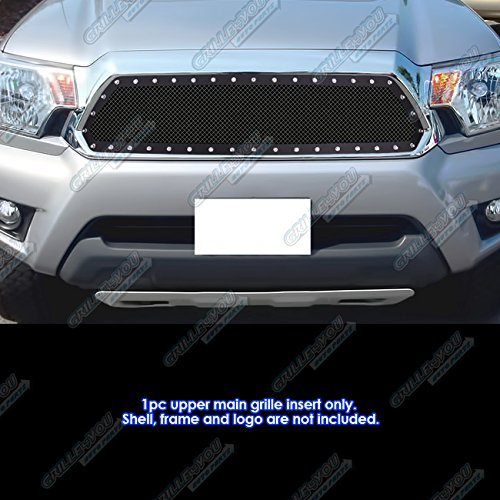 APS Fits 2012-2015 Toyota Tacoma Stainless Steel Black Rivet Mesh Grille Insert #TL6971H -