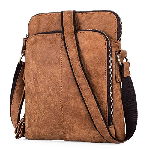 3457dffb17 BAIGIO Leather Crossbody Handbag Messenger Bag Satchel Shoulder Bags for  Men Women (Brown) - Buy Online in UAE.