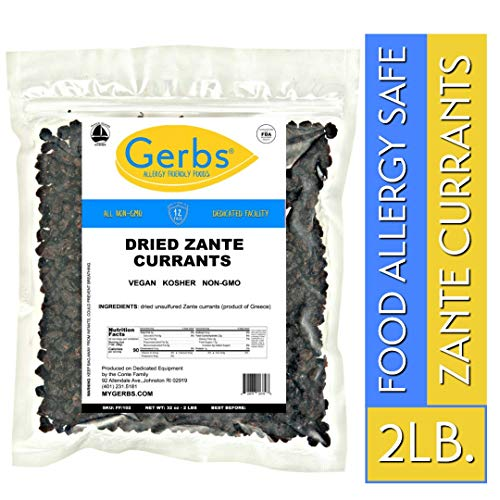Gerbs Dried Zante Currants, 2 LBS - Unsulfured & Preservative Free - Top 14 Food Allergy Free & NON GMO - Product of Greece