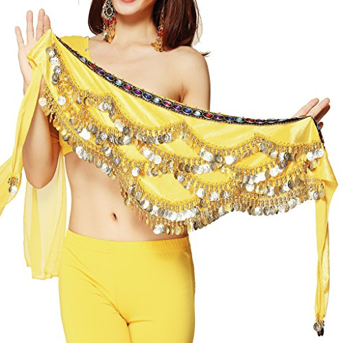 Pilot-trade Women's Triangular Belly Dancing Hip Scarf Wrap Skirt with Gold Coins Yellow for $<!--$6.32-->