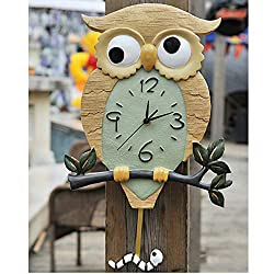 DW007 Swing Wall Clock Original Black Forest Owl Clock with Mechanical Insect Hand Made