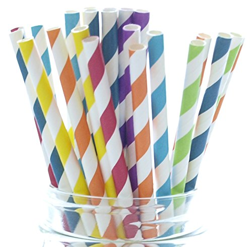 Rainbow Straws, Paper Birthday Party Straws (25 Pack) - Circus Red, Green, Blue, Purple, Orange, Yellow Assorted Colorful Striped Straws, Wedding Cake Pop Sticks, Lollipop Sticks
