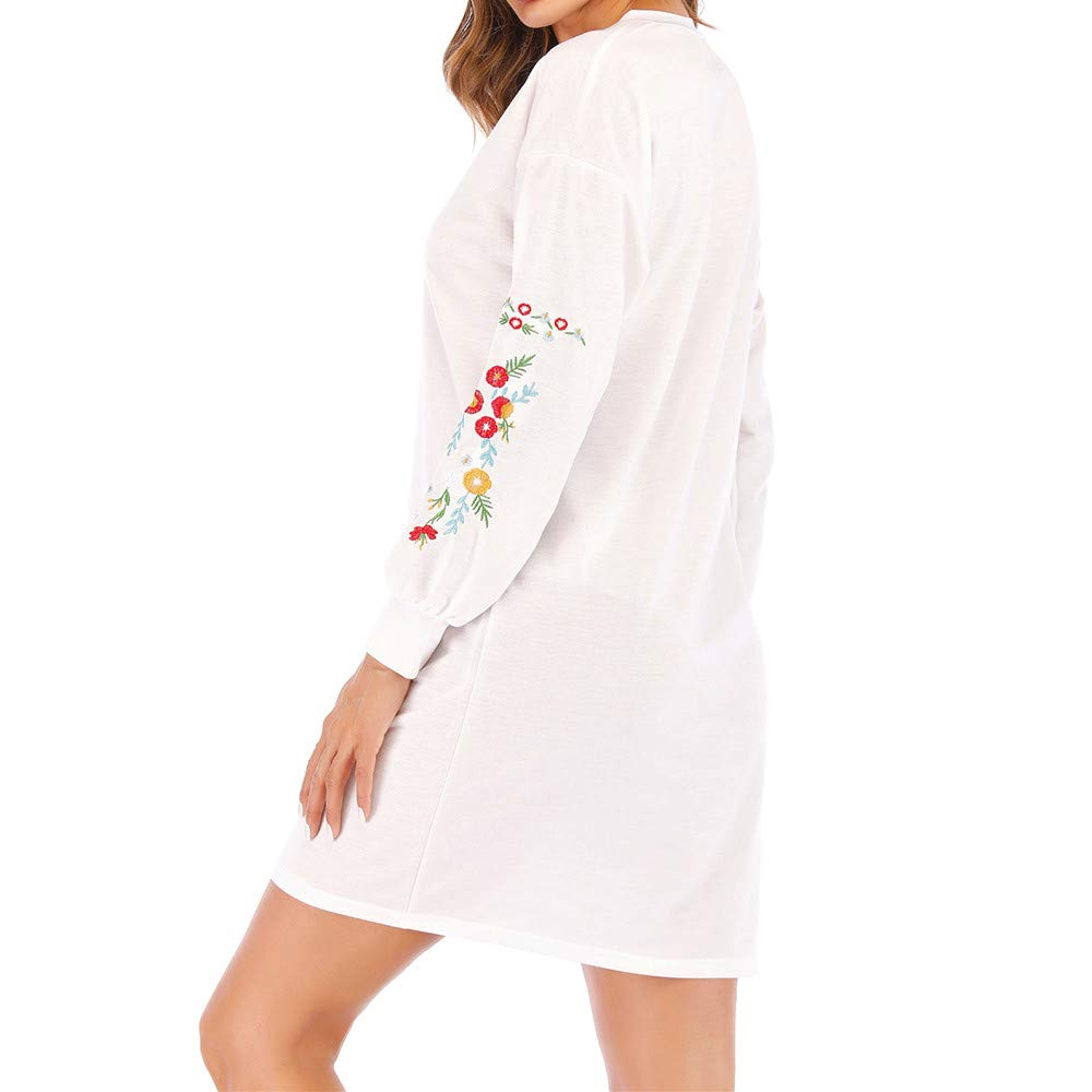 Covermason Robe Tunique Femme Brod/ée Floral Robe Sweatshirt Automne Hiver Occasionnels Manches Longues L/âche Tops T-Shirt Mini Robe
