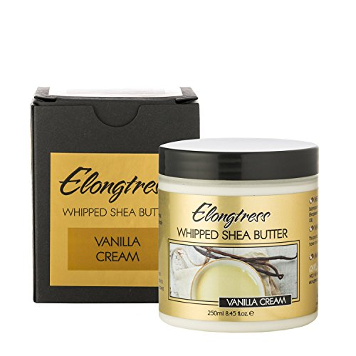Whipped Shea Butter By Elongtress: All Natural Moisturizing Shea Butter For Flawless Skin And Luscious Hair -Nourishing And Rejuvenating Body And Face Moisturizer - 8 Fragrances (Vanilla Cream)