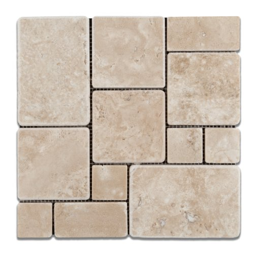 Durango Cream (Paredon) Travertine Tumbled OPUS Mini-Pattern Mosaic Tile - Sample -