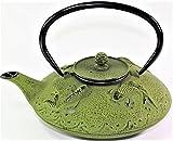 Japanese Antique 24 Fl Oz Green Fancy Carp Koi Fish Cast Iron Teapot Tetsubin with Infuser