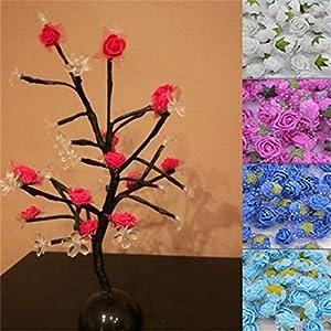 50Pcs/Lot 2Cm Diameter Mini PE Foam Rose Head Multicolor Artificial Silk Flowers Bouquet for Wedding Party Home Decoration Lake Blue 5