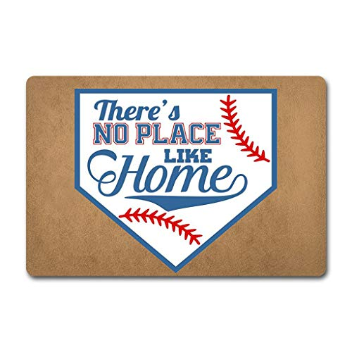 ZQH The Back Door Door Mat There's No Place Like Home Doormat Baseball Home Plate Door Mat (23.6 X 15.7 in) Non-Woven Fabric Top with a Anti-Slip Rubber Back Rugs for The Entrance Way Indoor Doormat