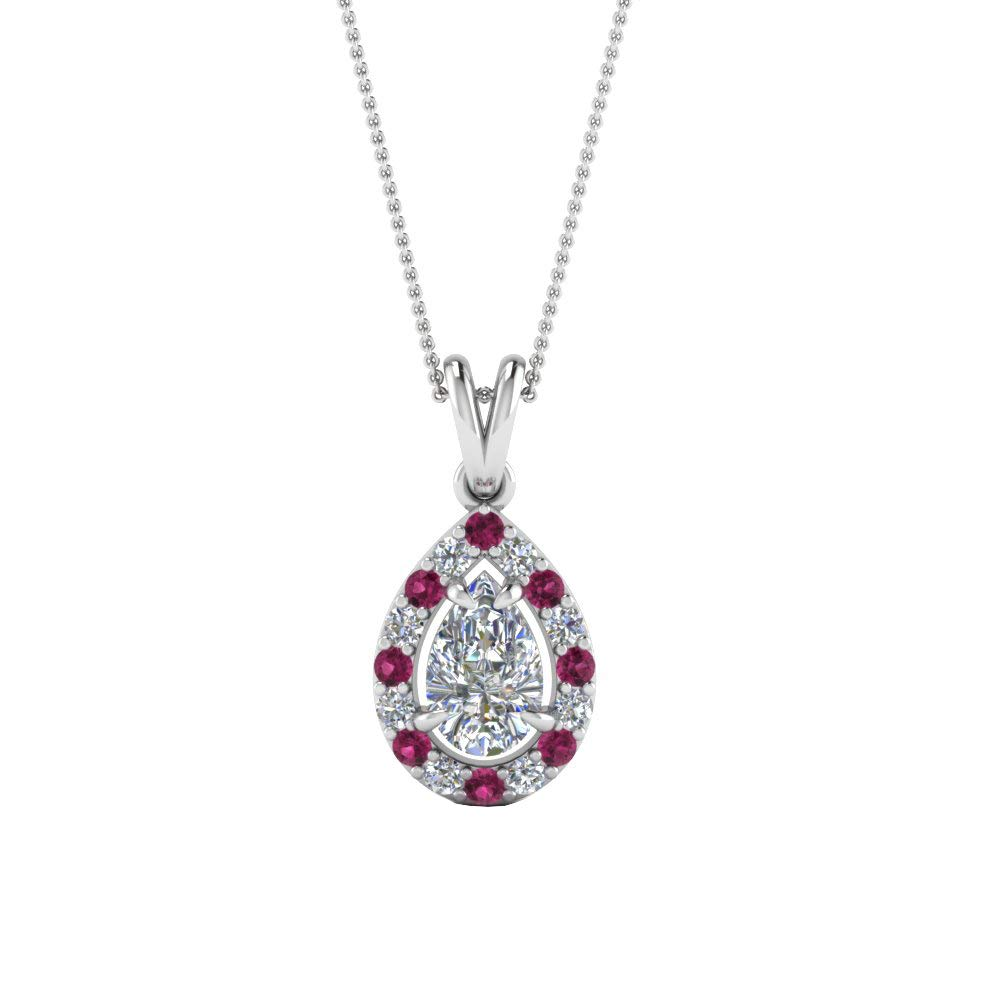 DTJEWELS 0.37 Ctw Pear Cut Pink /& D//VVS1 Diamonds Halo Pendant with 18 Chain in 14K Gold Plated .925