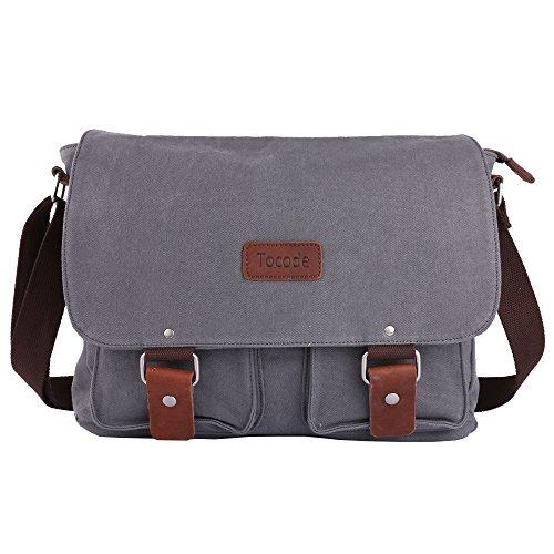 Tocode Canvas Messenger Bag Shoulder Bag Laptop Bag Gray