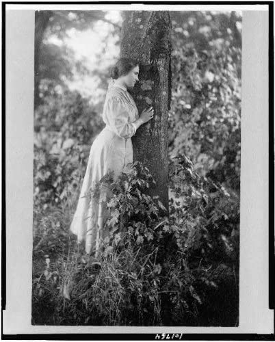 Facing Right Historic Photos 1907 Photo Helen Keller Full-Length Portrait Standing by Tree