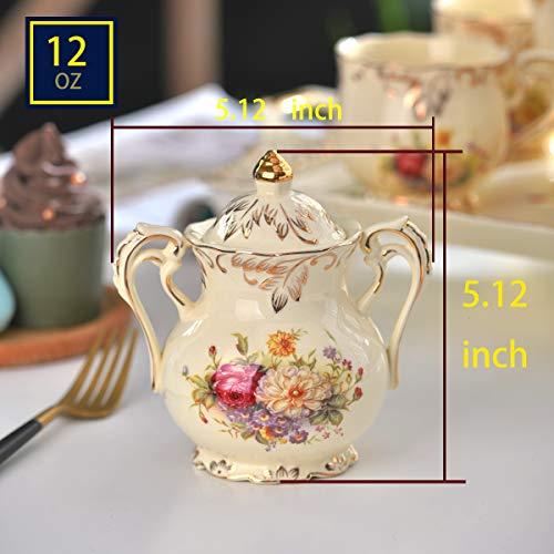YOLIFE Flowering Shrubs Pattern Golden Leaves Edge Sugar and Creamer Bowl set by YOLIFE (Image #1)