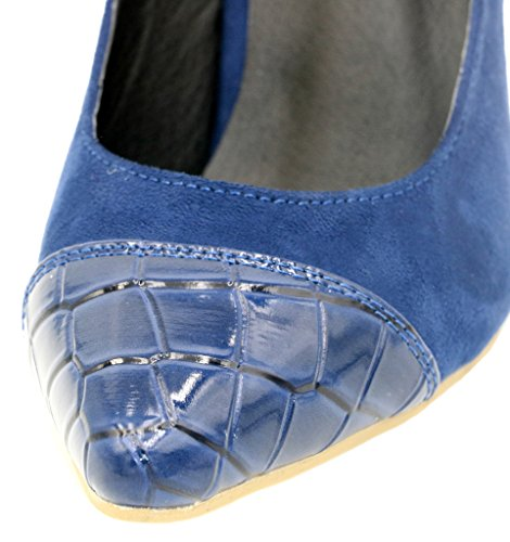 AgeeMi Shoes Damen Slip On Spitz Zehe Nubuk Gemischte Farbe Stilettos Pumps Dunkel Blau