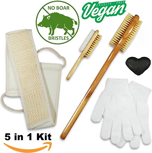 Dry Brush & Skin Exfoliating Set - VEGAN. NO Boar Bristles - Natural 5 in 1 kit - Body Brush, Foot Brush & Pumice Stone, Loofah Back Scrubber, Face Konjac Sponge, Bath Gloves. Reduce Cellulite