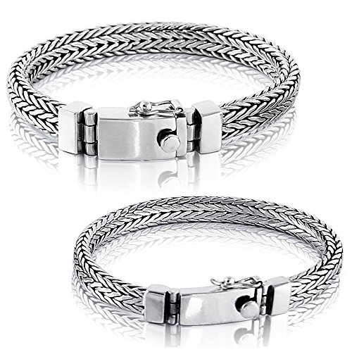 Solid 925 Sterling Silver Small or Big Men Bracelet - Made in Thailand - S 7 ()