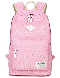 Leaper Cute Floral Book Bag Girls Laptop Canvas Backpack for Kids Daypack Rucksack Pink