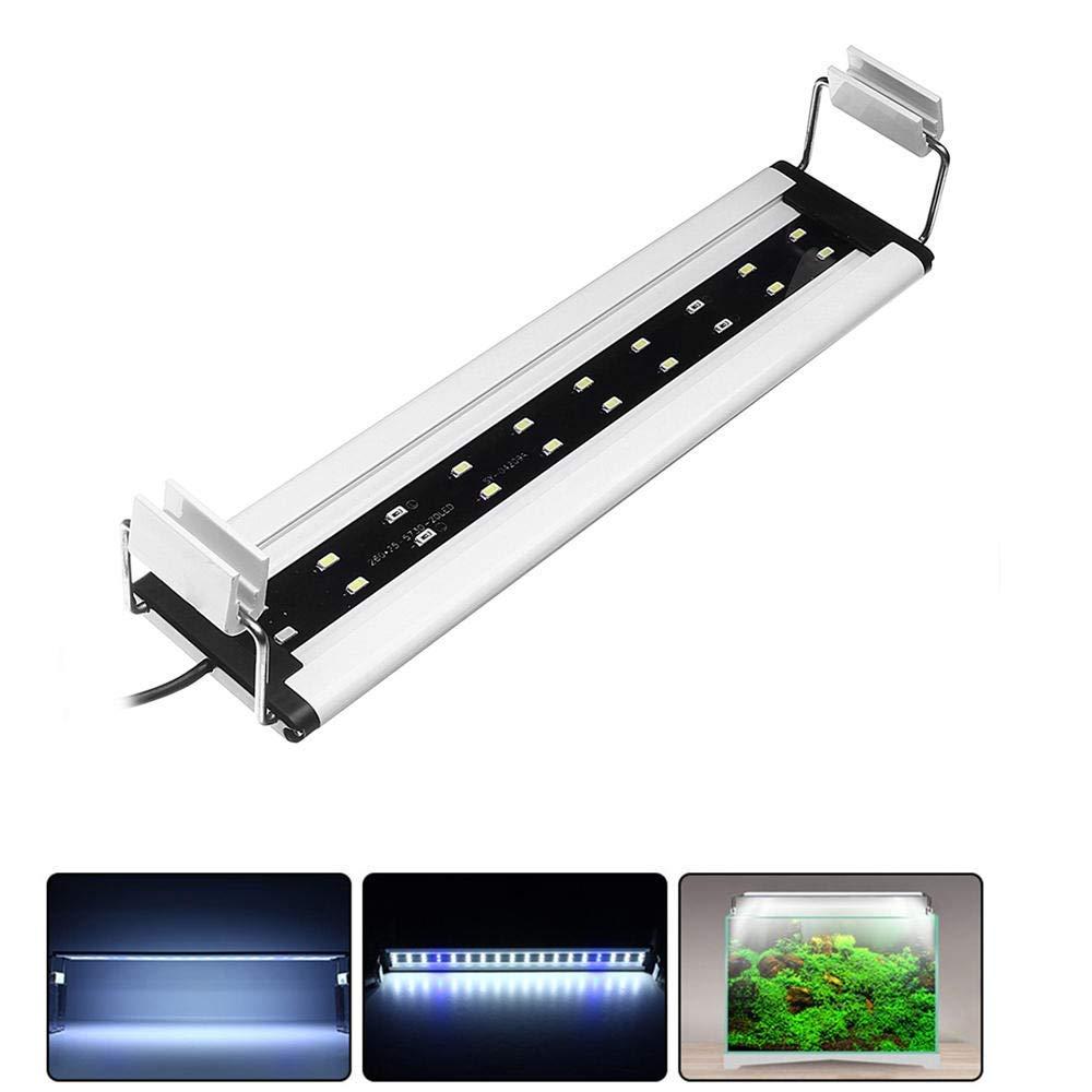 6W LED Aquarium Fish Tank Light Panel bluee+White Lamp Adjustable Aluminum