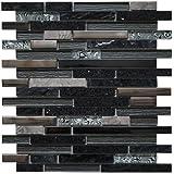 Edelstahl Marmor Glasmosaik Matte Schwarz/Silber Stäbchen Mosaik Fliesen Metall Bad Küche M447