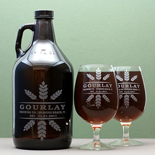 personalized-engraved-beer-growler-and-2-glasses-etched-with-wheat-crowns-art