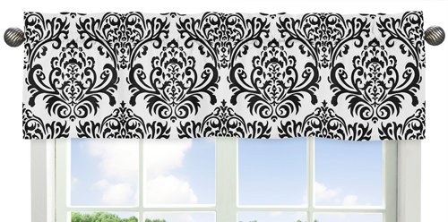 Sweet Jojo Designs Sloane Black and White Damask Window Valance