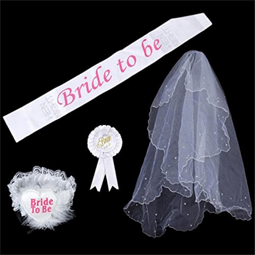 Zytree(TM) 1 Set White Rosette Mantilla Badge Sash Pantyhose Slipper Hen Night Party Wedding Bride To Deliver Bride To GI896234