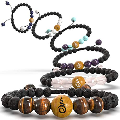 Tiger Bracelet Set (Be Here Now - Access Inner Peace with These Essential Oil Diffuser Bracelets (Set of 3). Anti-Anxiety Relief for Women Men Kids. Guided Meditation Included. Gift Boxed, Satin Bag)
