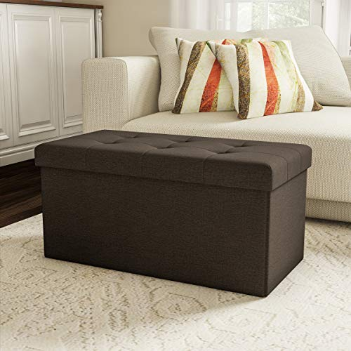 Lavish Home 80-FOTT-6 Large Folding Storage Bench Ottoman - Tufted Cube Organizer Furniture with Removable Bin for Home, Bedroom, Living Room (Brown), ()