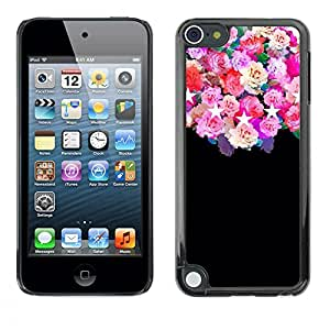 Plastic Shell Protective Case Cover || Apple iPod Touch 5 || Stars Pink Floral Flowers @XPTECH