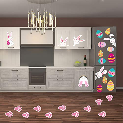 74Pcs Easter Bunny Egg Stickers Easter Decorations Easter Window Clings Bunny Paw Decals Easter Wall Door Floor Décor (Easter)