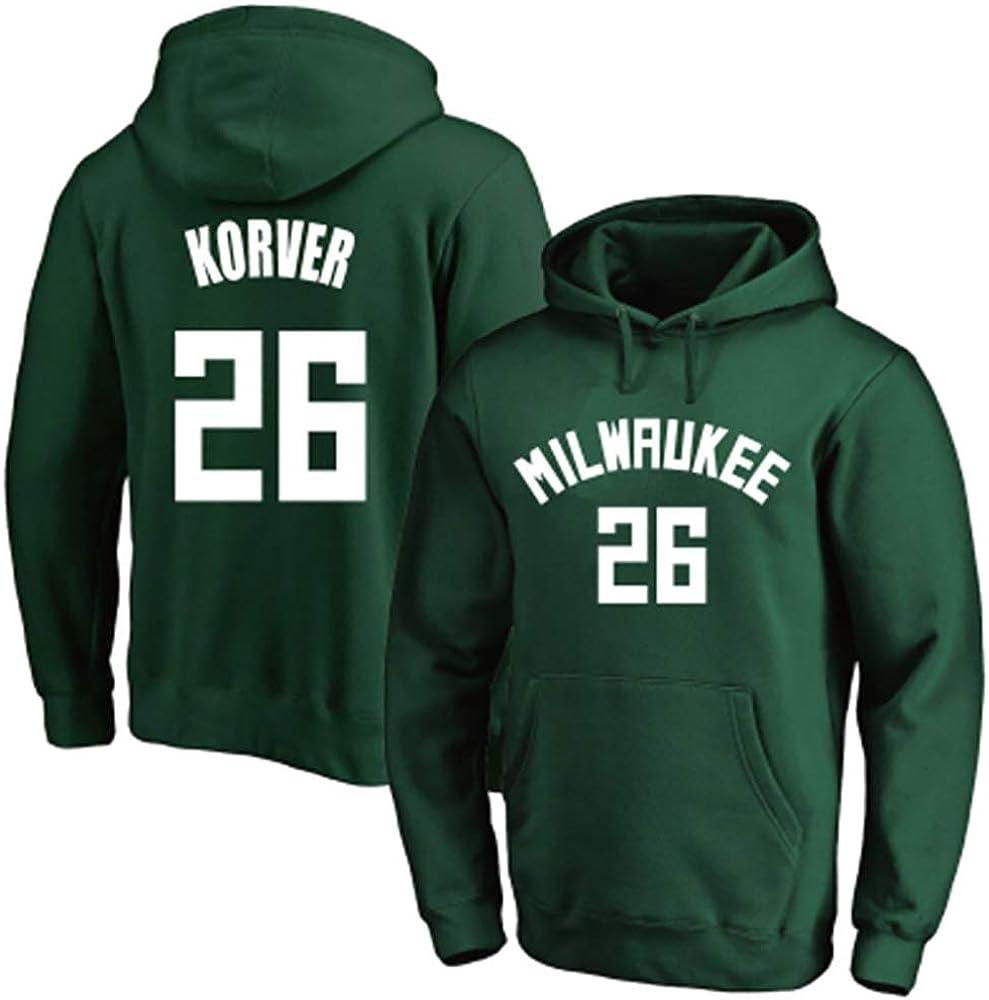 Kyle Korver # 26 Milwaukee Jersey Basketball Hoodie Hoodie Pullover Loip Hip Hop Sweatshirt M/änner und Frauen T-Shirt Training Langarm