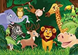 7X5FT Jungle Safari Themed animals BACKDROP High-grade portrait cloth Computer printed 1st Birthday party baby shower banner photo backdrop lv-201711251