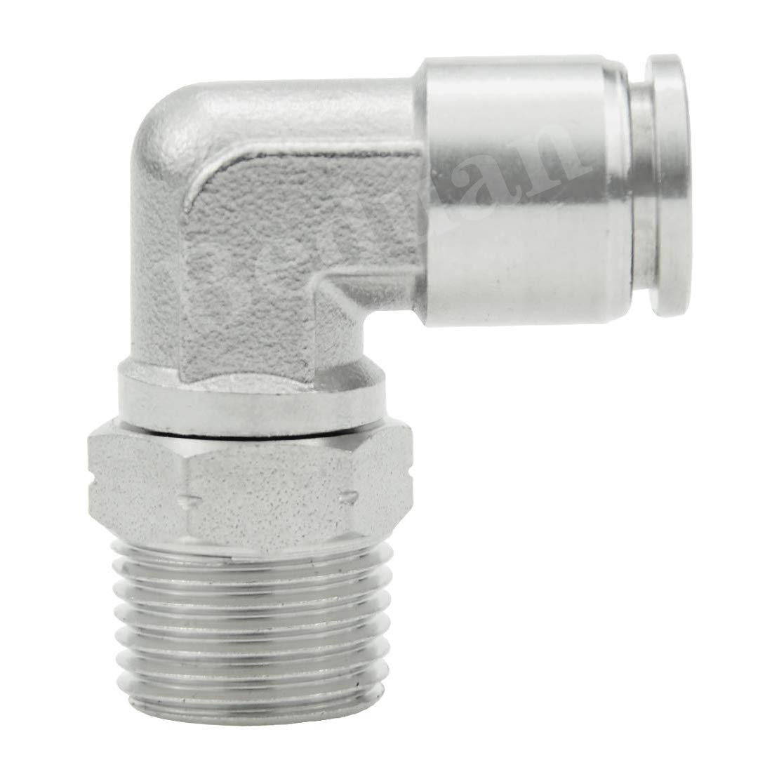 1//2 Tube OD x 1//2 NPT Male 90 Degree Elbow Adapter 304 Stainless Steel Air Union Fitting Beduan Push to Connect Fitting Elbow