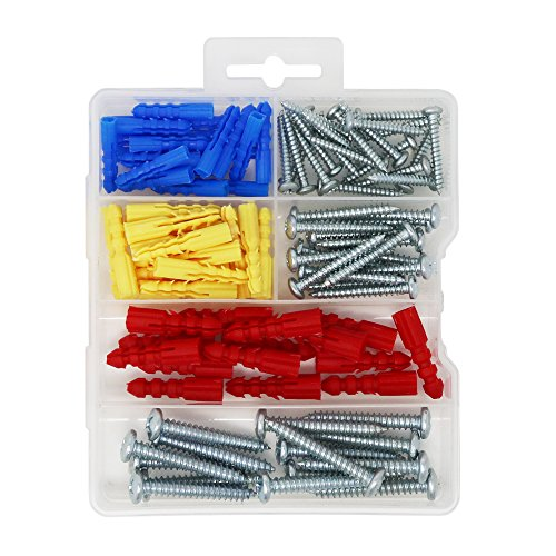 T.K.Excellent Plastic Self Drilling Drywall Ribbed Anchors with Screws Assortment Kit,100 Pieces
