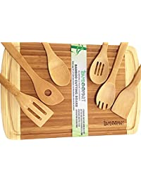 PickUp #1 Beautiful Wedding, Housewarming, or Birthday Gift Set | Bamboo Cutting Board with 6-Piece Bamboo Wood Utensils... save