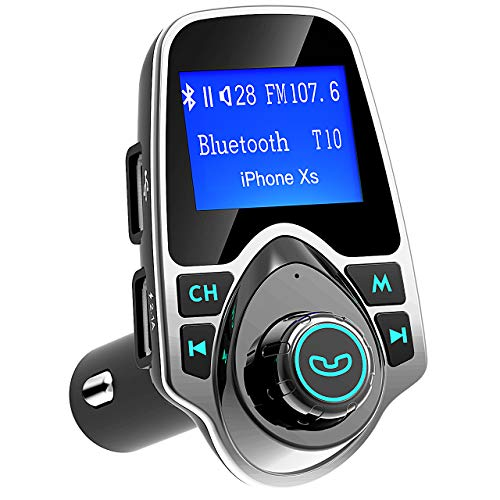 (Bluetooth FM Transmitter for Car, TopElek Wireless Radio Transmitter Adapter with Power Off Function, Hands-Free Car Kit Charger, 1.44'' LCD Diaplay, Music Player, 2 USB Ports, AUX in/Out, TF Card)