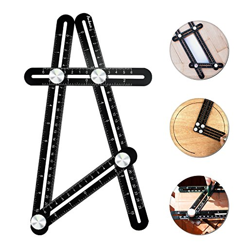 Multi Angle Measuring Ruler, IMDEN Premium Aluminum Alloy Template Tool/Layout Tool Measurement for Handymen, Builders, Craftsmen, DIY-ers (Black)