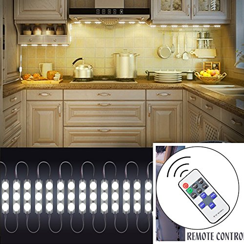 12V 20W 2400LM 60 SMD5730 LED Mirror Light with Remote Control Brightness Dimmable for Cabinet Closet Kitchen Counter Decoration(Warm white) by Alician