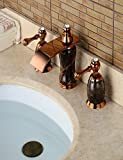 MEIREN new design style modern antique Widespread Two Handles Three Holes in Rose Gold Bathroom Sink Faucet