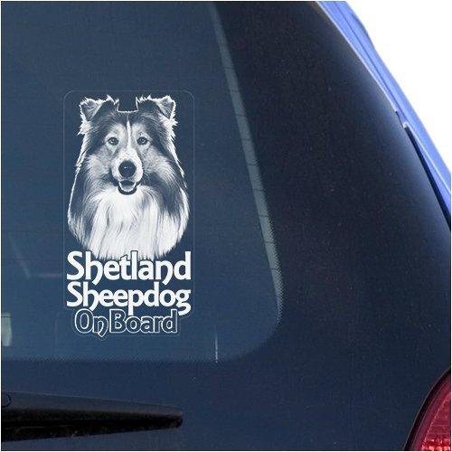 Shetland Sheepdog Clear Vinyl Decal Sticker Portrait for Window, Sheltie Dog Sign Art Print