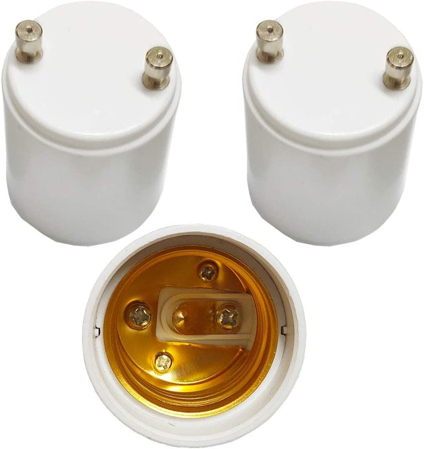 3 Pack GU24 to E26 E27 Adapter,AUSAYE Maximum Wattage 1000W Heat Resistant Up to 200℃ Fire Resistant Converts GU24 Pin Base Fixture to E26 E27 Standard Screw-in Socket