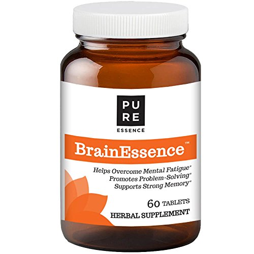 Pure Essence Labs Brain Essence Natural Booster Supplement – Memory, Focus and Clarity Support – Rhodiola, Bacopa Monnieri, Ashwagandha – 60 Tablets