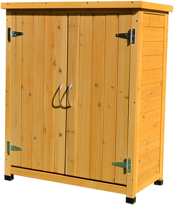 ZHOUAICHENG Armario de Jardín de Madera al Aire Libre Armario de Almacenamiento de Alta Capacidad Lmpermeable y Anticorrosivo para Patio Balcón Amarillo 75 x 40 x 90 cm: Amazon.es: Hogar