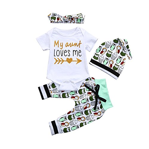 4Pcs Newborn Baby Boys Girls Clothes Set ''My Aunt Loves Me'' Print Romper Floral Pant Headband Hat Outfits Easter Gifts (White, 3-6 Months)